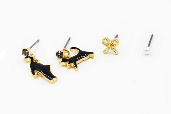 Twin Cats Earring Set in Black