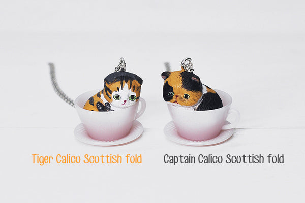 Teacup Necklace - Tiger Calico Scottish Fold
