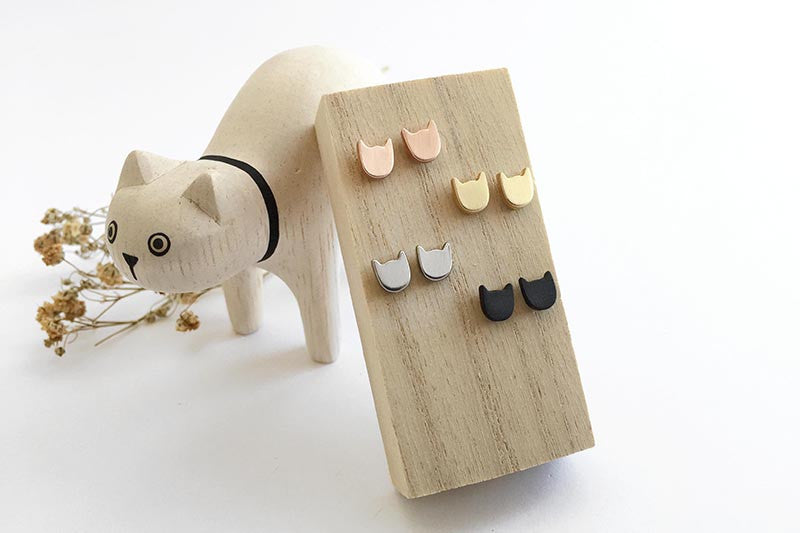 Cat Power Earring Studs in Matte Gold