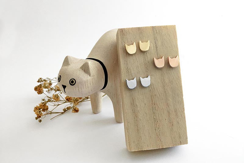Cat Power Earring Studs in Gold