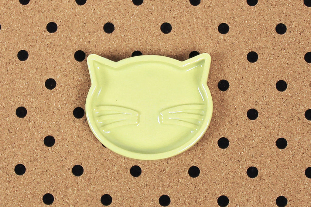 Ceramic Cat Jewellery Tray - Avocado