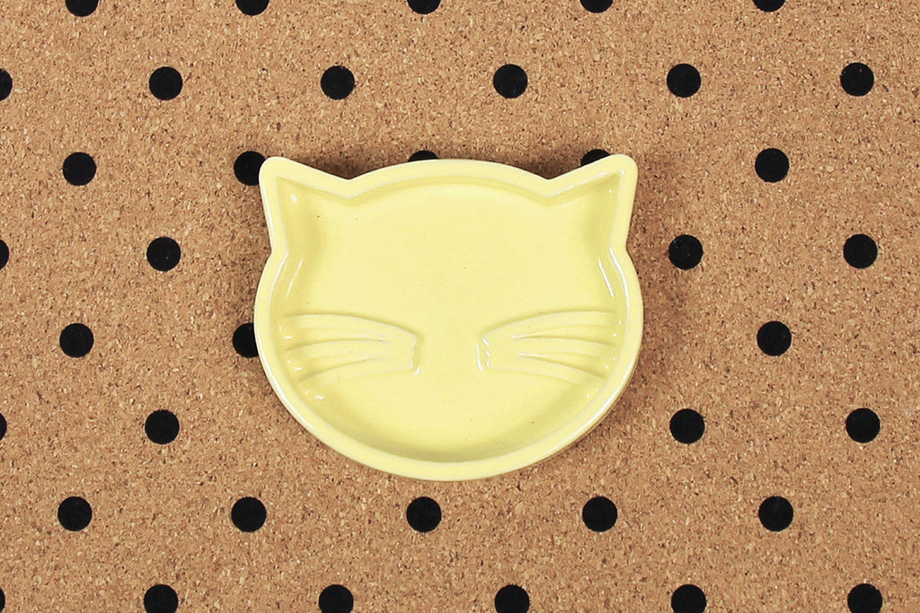 Ceramic Cat Jewellery Tray - Yellow