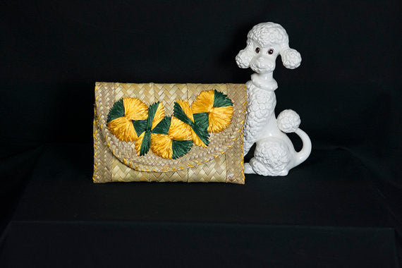 Vintage Clutch Straw with Yellow & Green Pom Poms