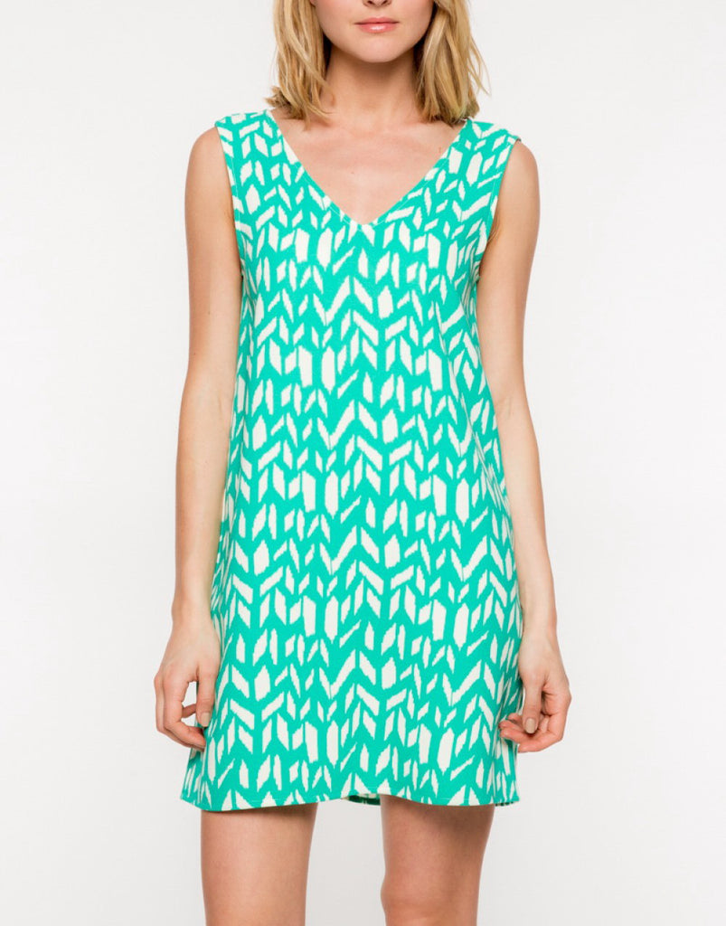 Green with Geometry Dress