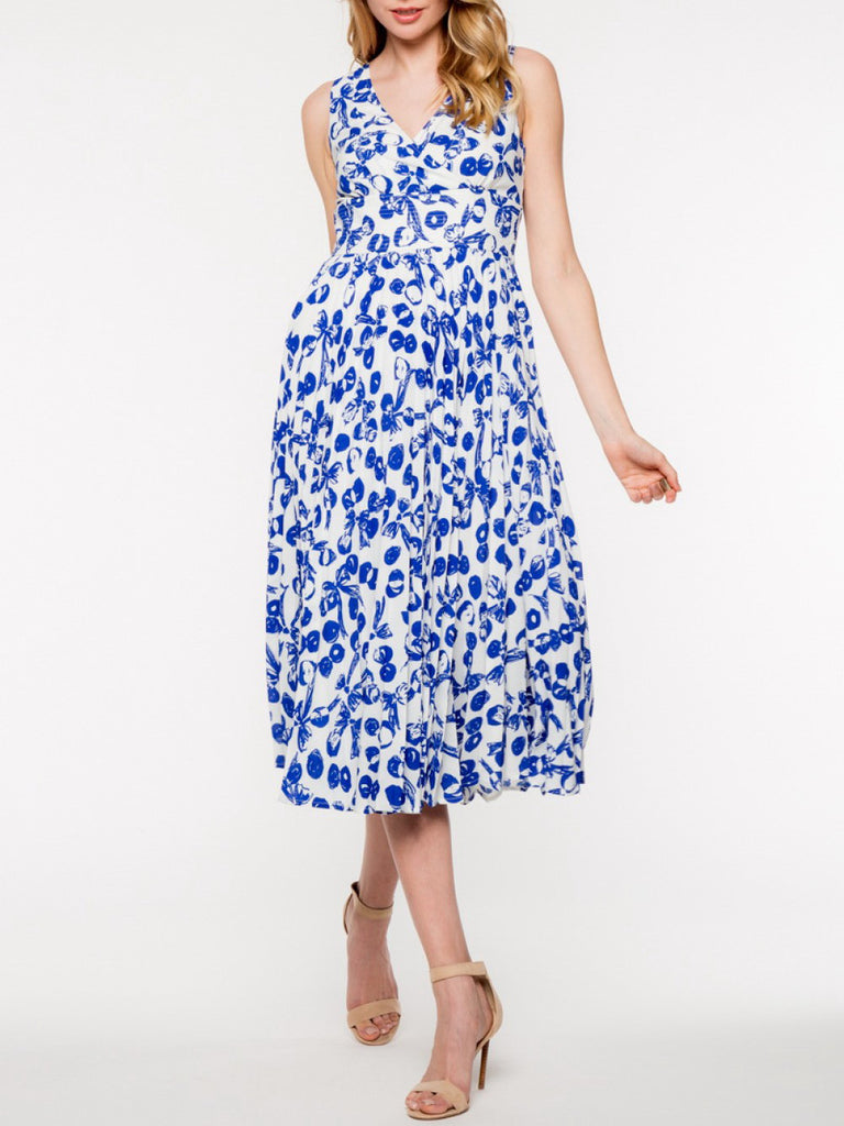 Floral Midi Dress in Blue