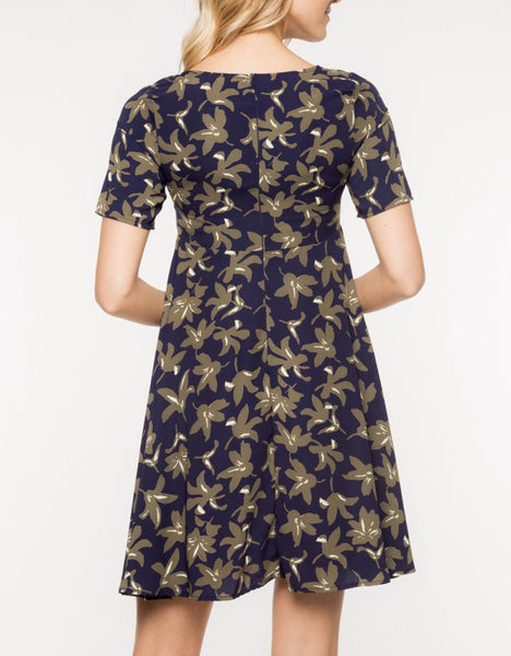Navy with Chestnut Floral Dress