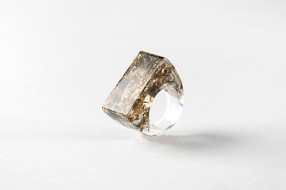Bioresin Ring - Existence Ring - Smokey Black with Gold Foil