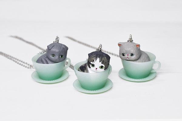 Teacup Necklace - Grey Tabby Scottish Fold