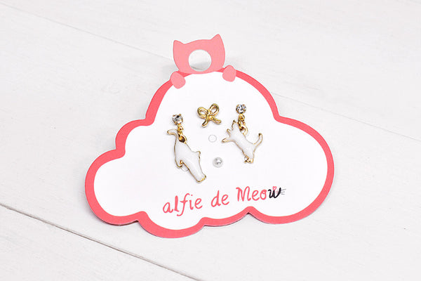 Twin Cats Earring Set in White