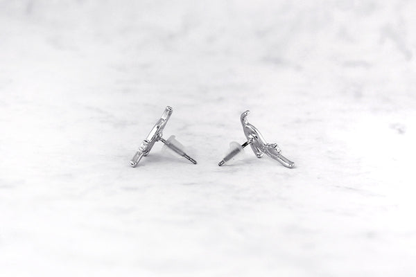 Stretching Cat Earrings in Silver