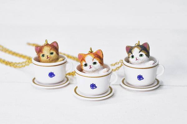 Teacup Necklace - Orange White Tabby