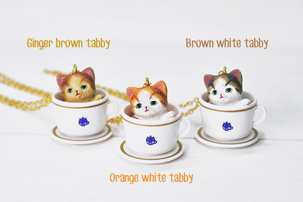 Teacup Necklace - Brown White Tabby