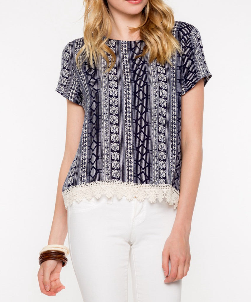 Navy Geometric Laced Top