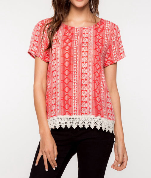 Red Geometric Laced Top