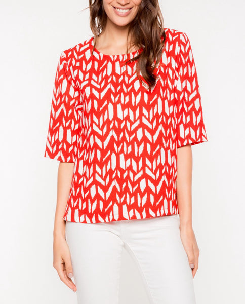 Red Geometric Top