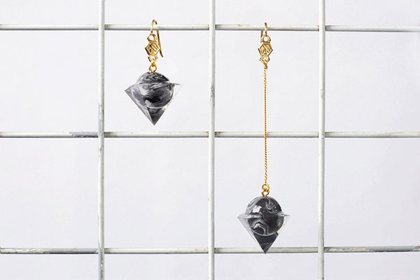 Hope Earrings - Black Marble
