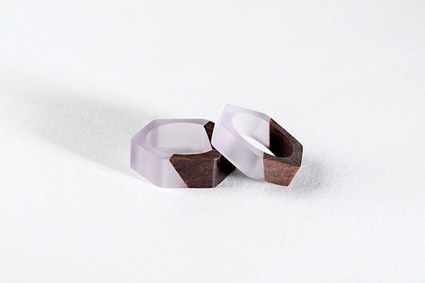 Bioresin Hexagon Ring With Eco-friendly Walnut Wood in Lilac