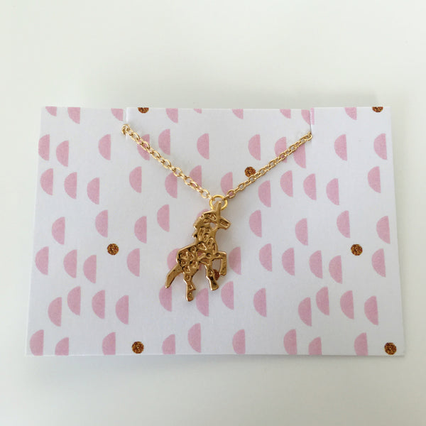 ~ Unicorn Necklace in Gold