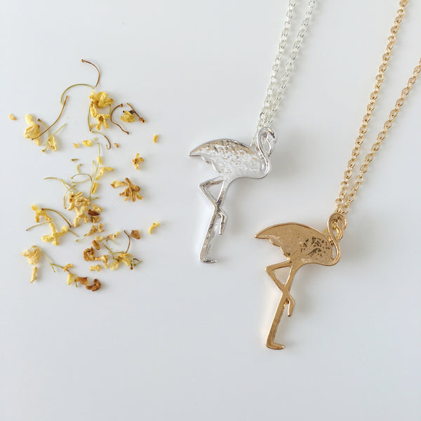 ~ Fluttering Flamingo Necklace in Gold