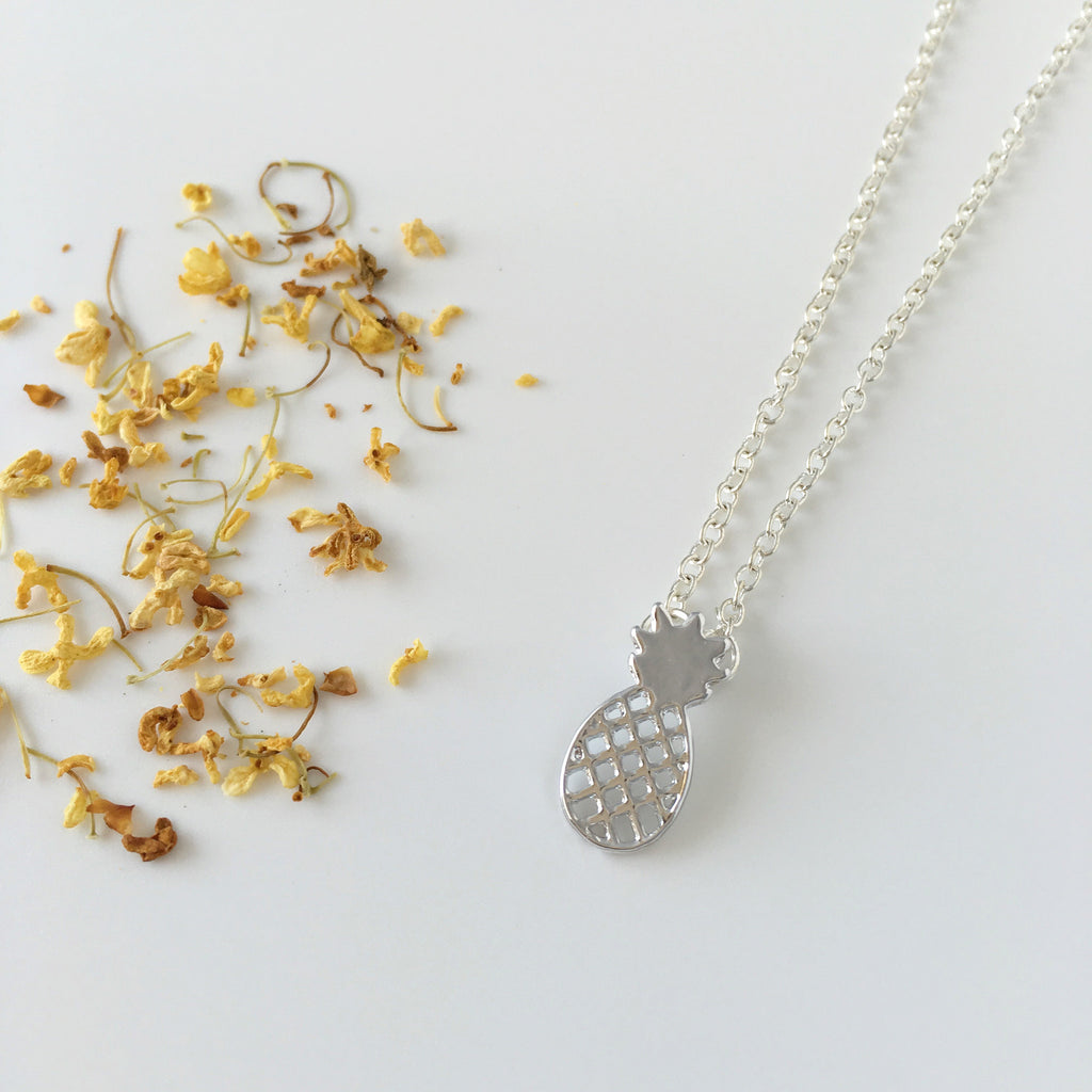 ~ Sweet Pineapple Necklace in Silver