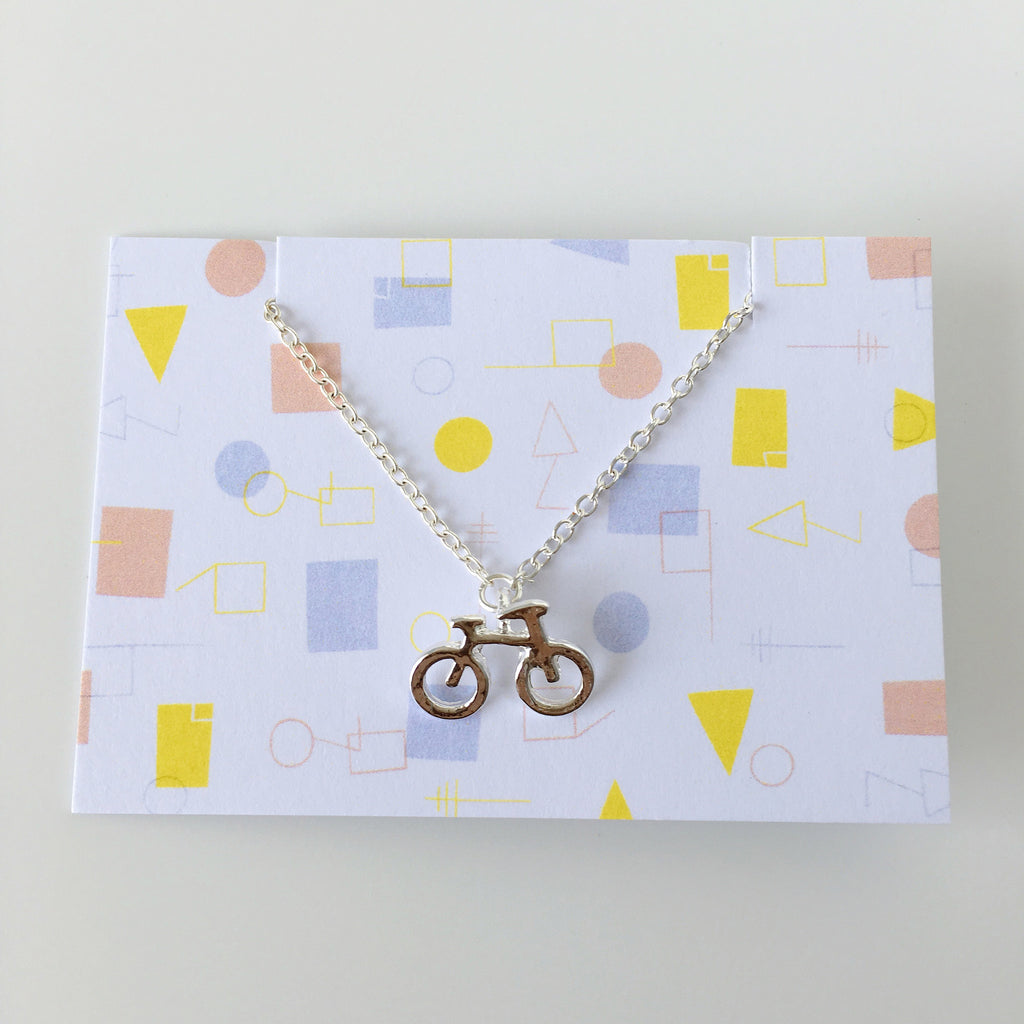 ~ Countryside Bicycle Necklace in Silver