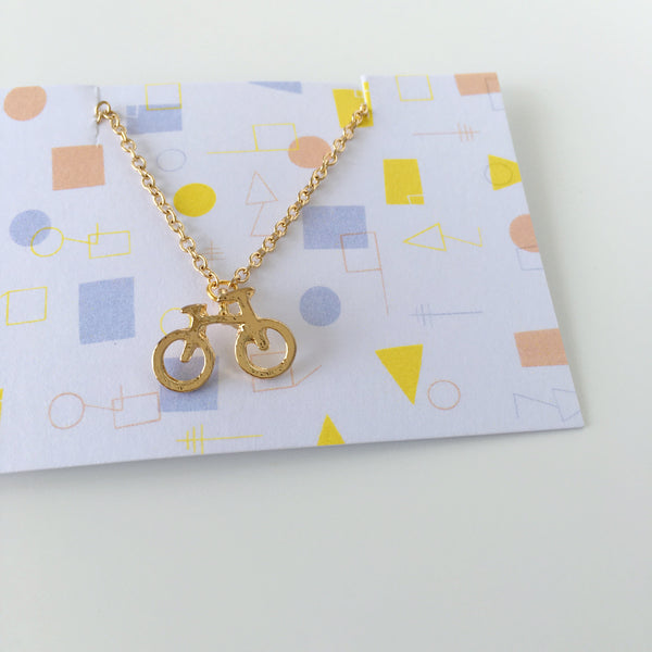 ~ Countryside Bicycle Necklace in Gold