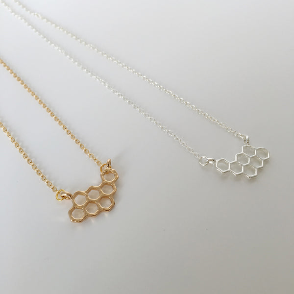 ~ Honeycomb Necklace in Gold