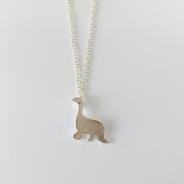 ~ Dinky Dino Necklace in Silver