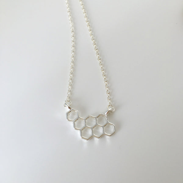 ~ Honeycomb Necklace in Silver
