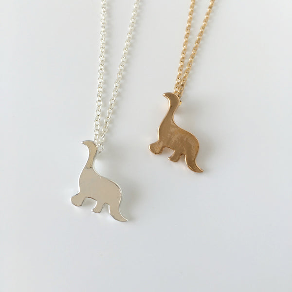 ~ Dinky Dino Necklace in Gold