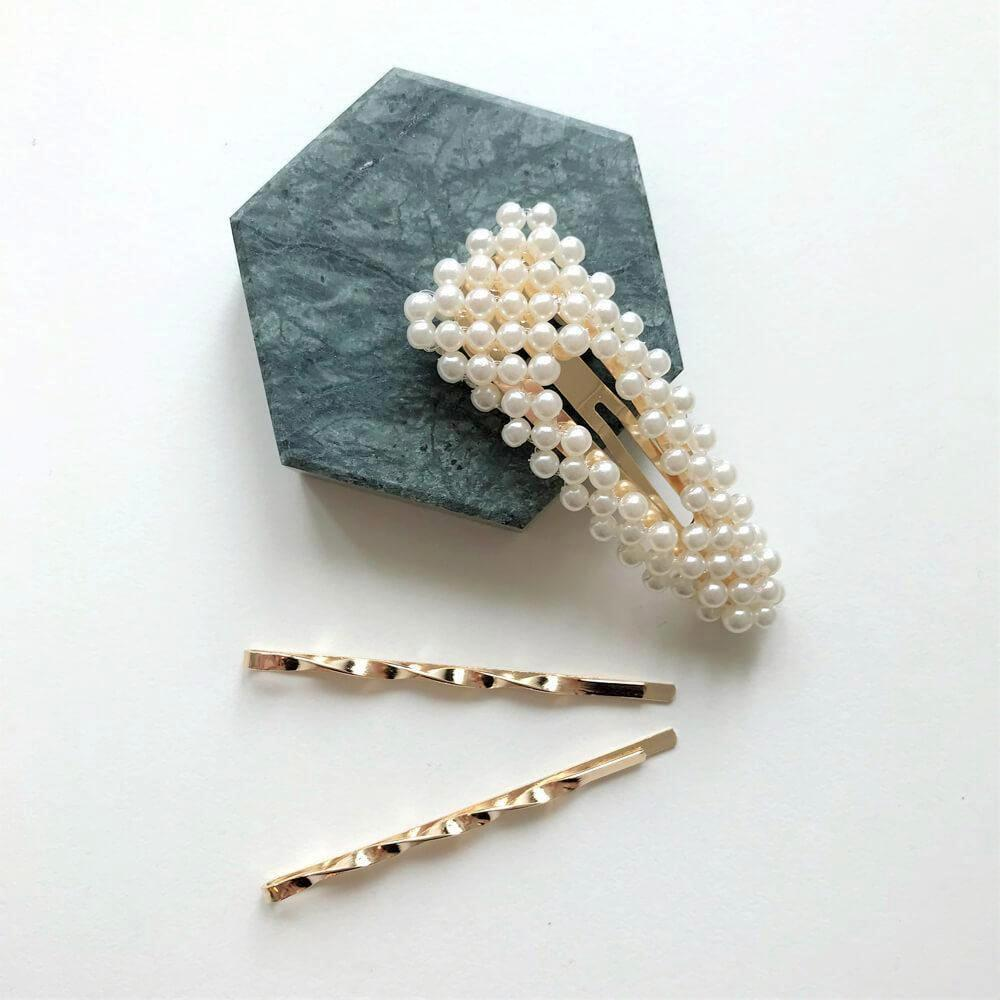 THE JEWEL FIX PEARL SNAP HAIR CLIP SET