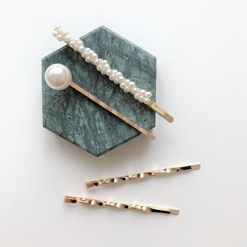 THE JEWEL FIX TWISTED PEARLS HAIR PIN SET