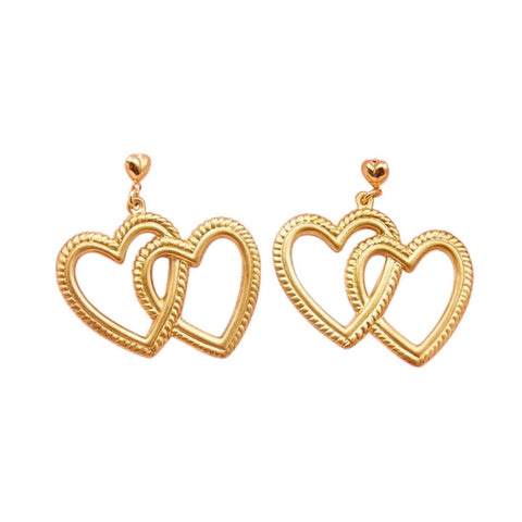 frasier sterling double heart gold earrings