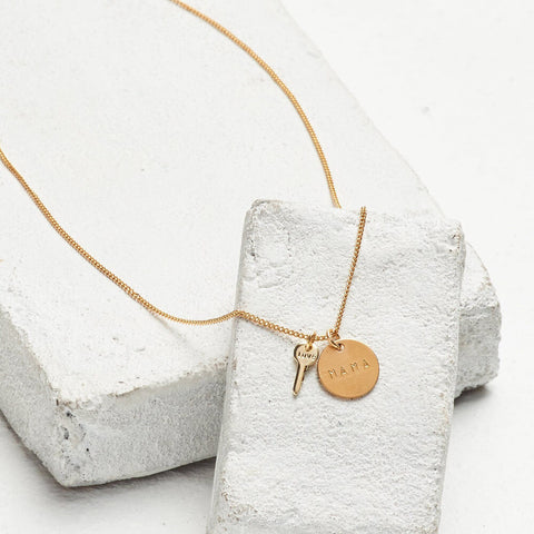 DISC PENDANT + MINI KEY CHARM NECKLACE - MAMA