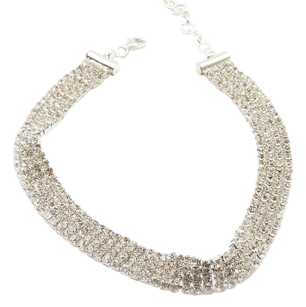 frasier sterling crystal silver choker necklace