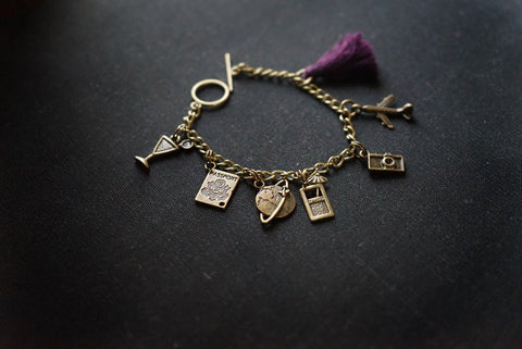 Travel Charm Bracelet with tassel
