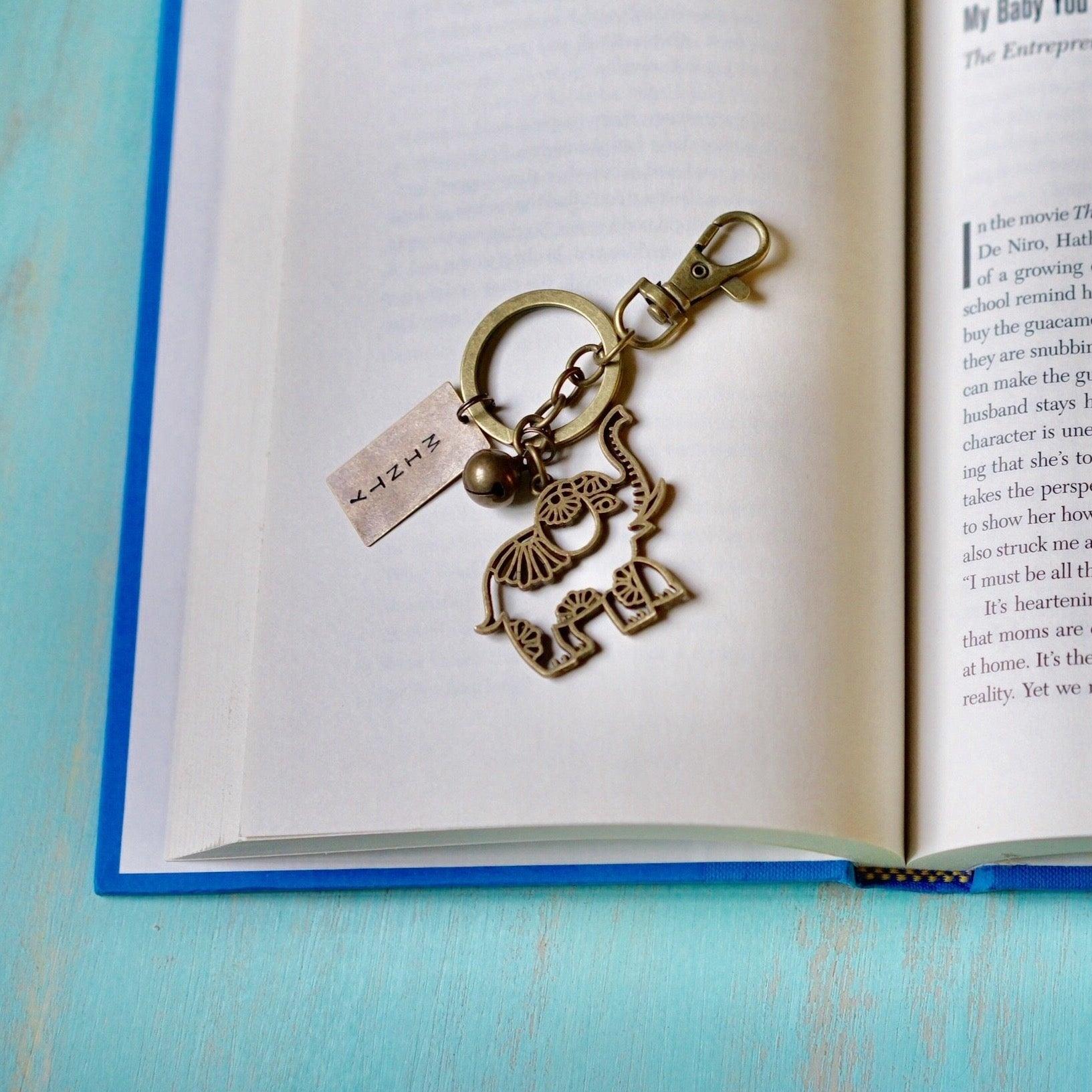Elephant + Bell Personalised Keychain