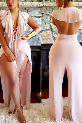 0b3fdaac3019 Lulumia Lace-up Backless High Split Pink Jumpsuits
