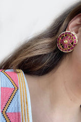 Red Circle Earrings