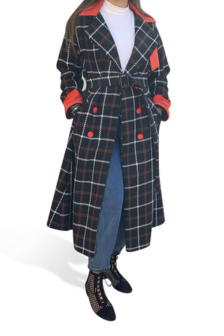 Checkered Wool Coat