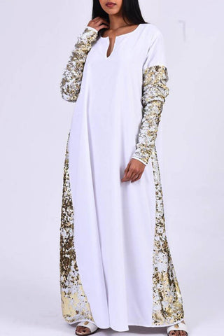 White Sequins Kaftan