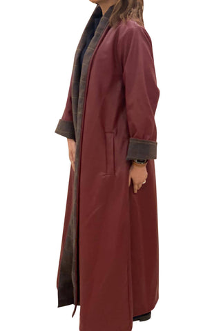 Meem Maroon Leather Bisht