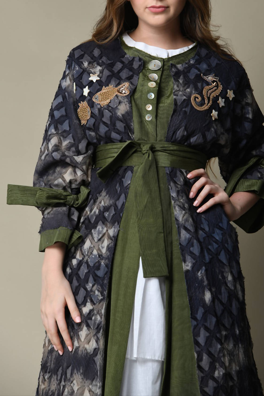Navy & Olive Green Duster