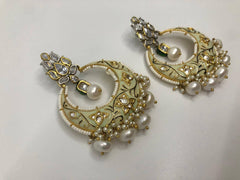 Half Moon White Earrings