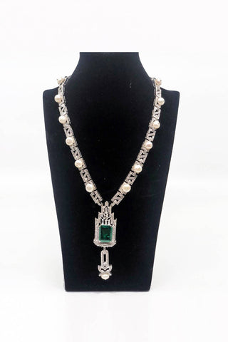 Square Cut Green Long Necklace