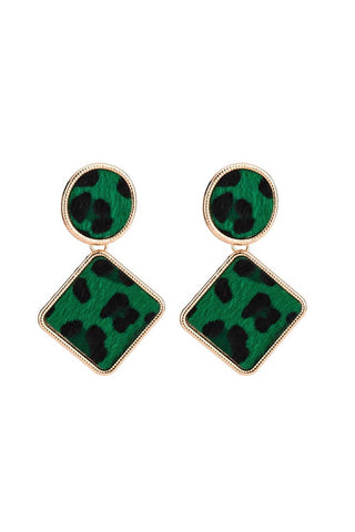 Green Leopard Earrings