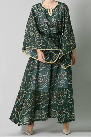 Green Arabic Calligraphy Kaftan