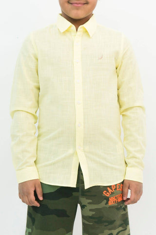 Mendoo Kids Linen Shirt - Lemon