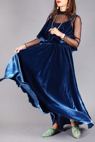 LoLo Blue Velvet Dress