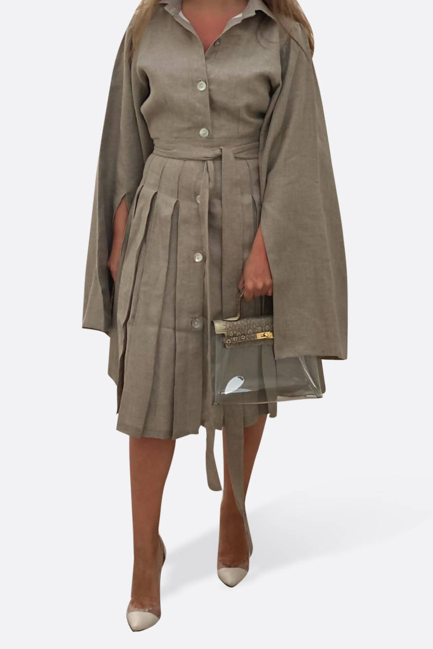 Taupe Cape Dress